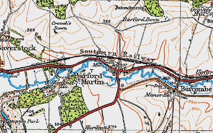 Old map of Barford Down in 1919
