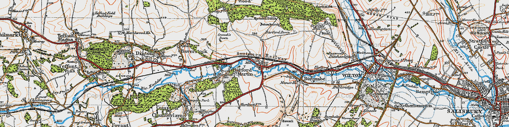 Old map of Barford St Martin in 1919