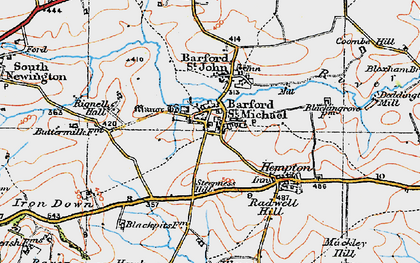 Old map of Barford St Michael in 1919