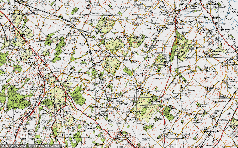 Old Map of Barfrestone, 1920 in 1920