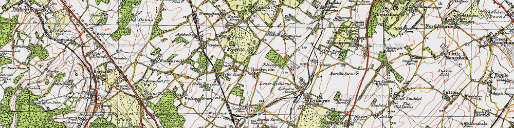 Old map of Barfrestone in 1920