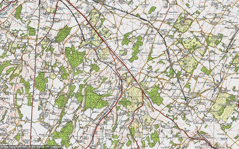 Old Map of Barham, 1920 in 1920