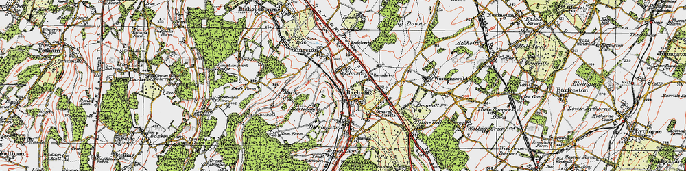 Old map of Barham in 1920