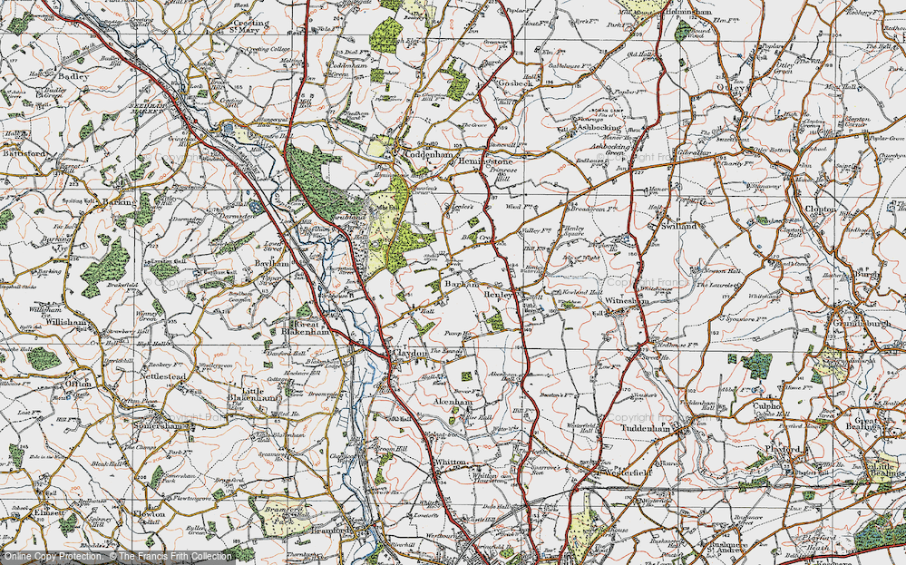 Old Map of Historic Map covering Barham Green in 1921