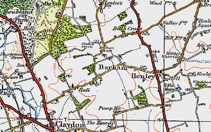 Old map of Barham Green in 1921