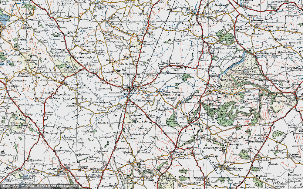 Old Map of Historic Map covering Aston Grange in 1921