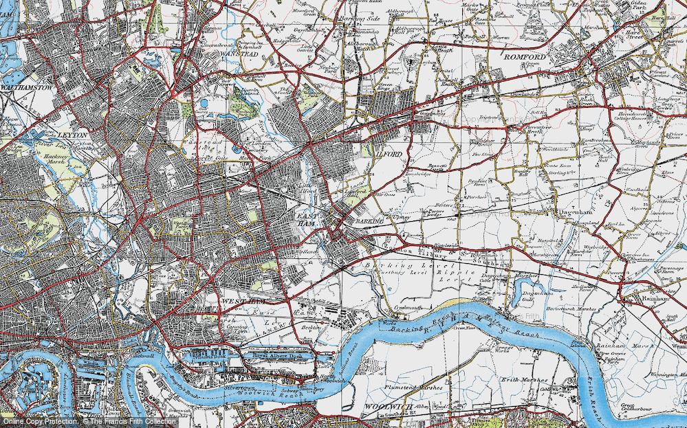 Old Map of Barking, 1920 in 1920