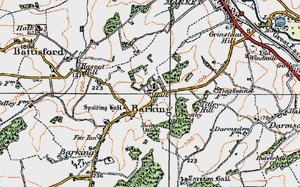 Old map of Barking in 1921