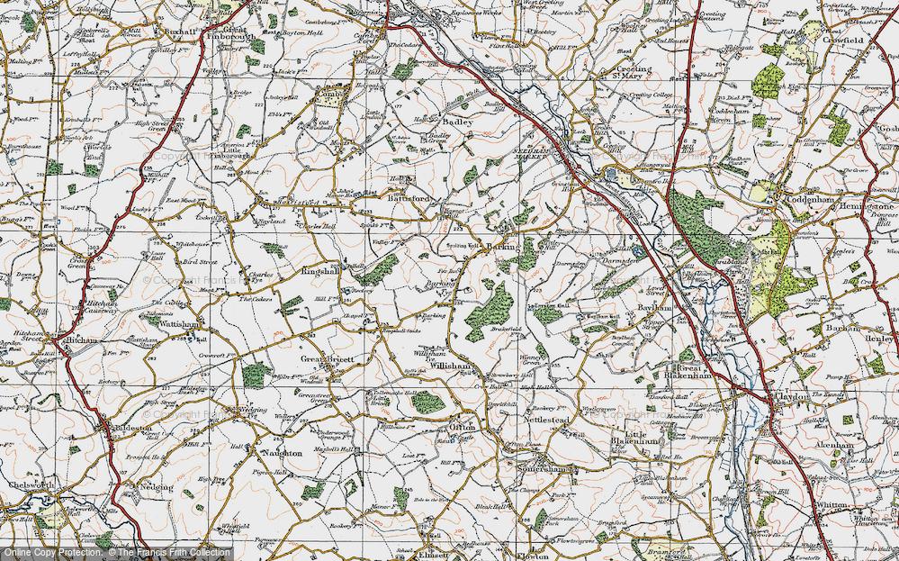 Old Map of Barking Tye, 1921 in 1921