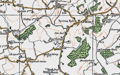 Old map of Barking Tye in 1921