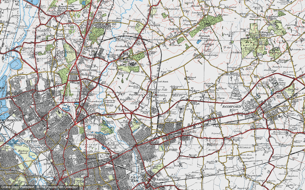 Old Map of Barkingside, 1920 in 1920