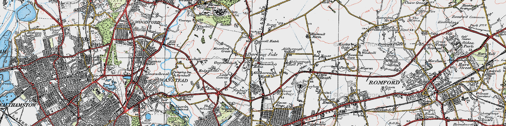Old map of Barkingside in 1920