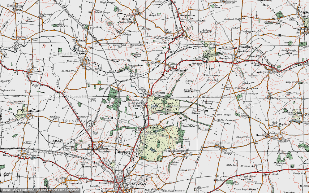 Old Map of Historic Map covering Barkston Heath in 1922