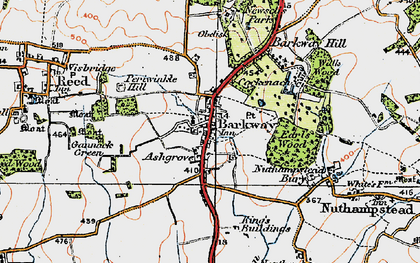 Old map of Barkway in 1920
