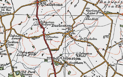 Old map of Barlestone in 1921