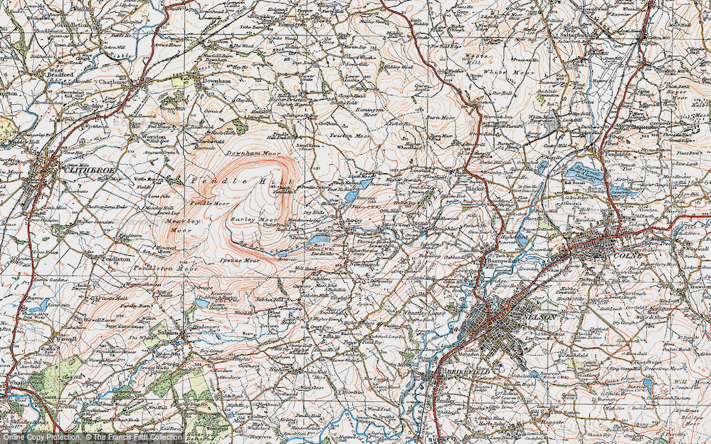 Old Map of Historic Map covering Aitken Wood in 1924