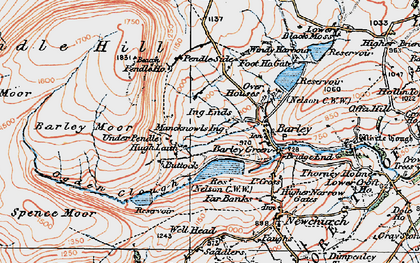 Old map of Barley Green in 1924