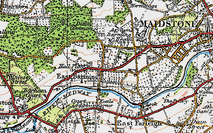 Old map of Barming in 1921