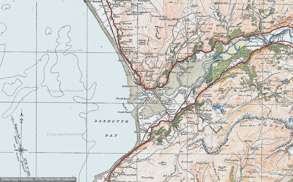 Old Map of Barmouth, 1922 in 1922