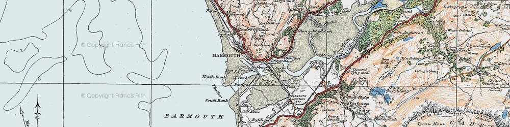 Old map of Barmouth in 1922