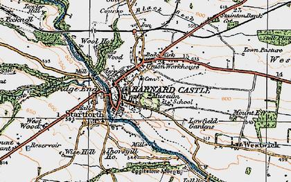 Old map of Barnard Castle in 1925