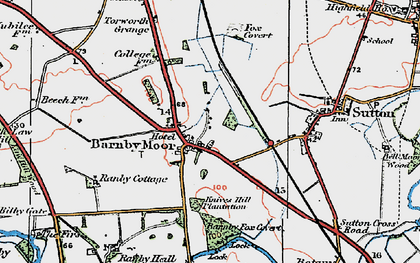 Old map of Barnby Moor in 1923