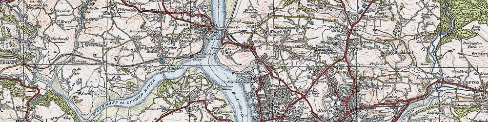 Old map of Barne Barton in 1919