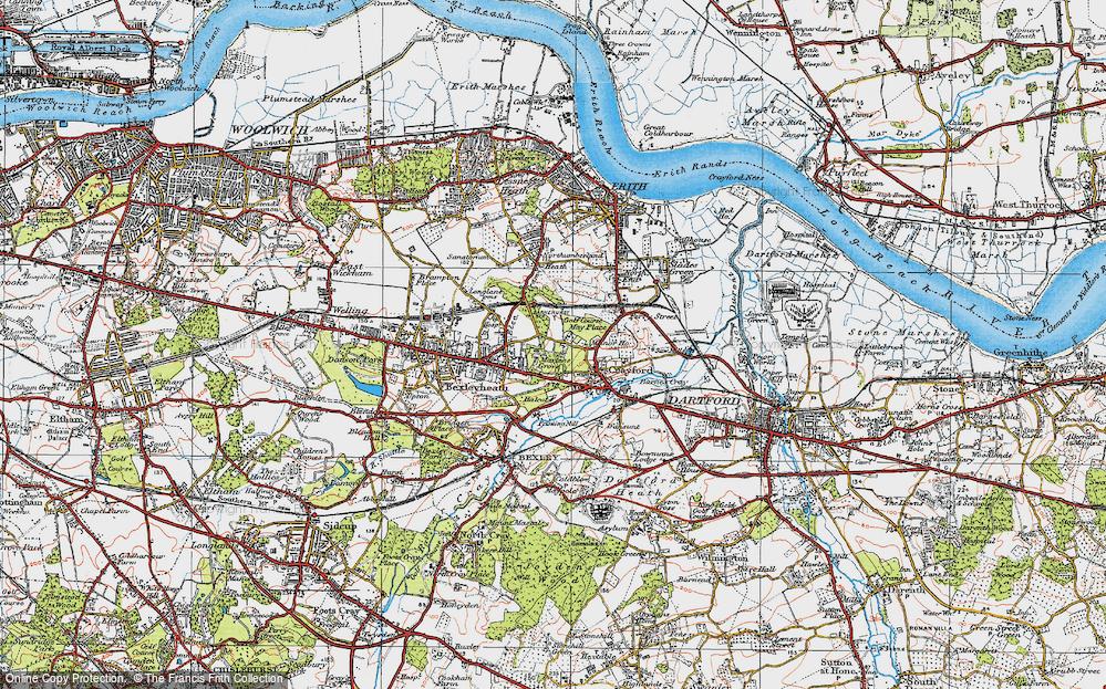 Old Map of Barnehurst, 1920 in 1920