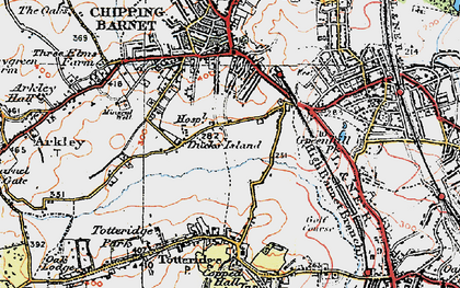Old map of Barnet in 1920
