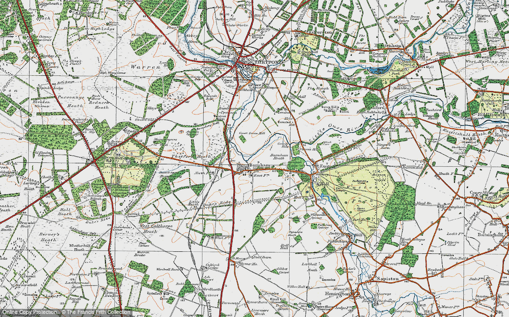 Old Map of Historic Map covering Aughton Spinney in 1920