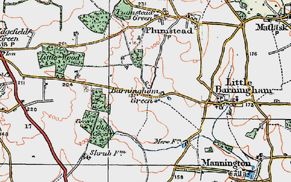 Old map of Barningham Green in 1922