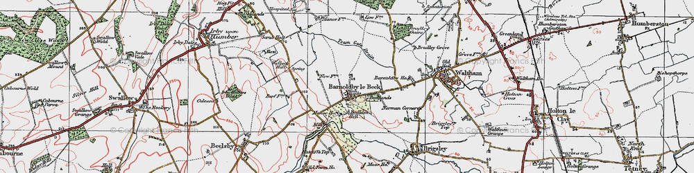 Old map of Barnoldby le Beck in 1923