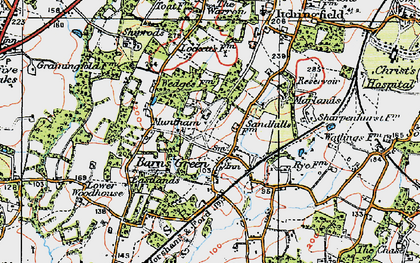 Old map of Barns Green in 1920