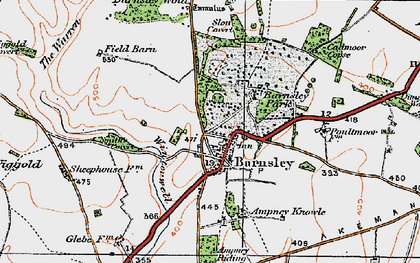 Old map of Barnsley in 1919