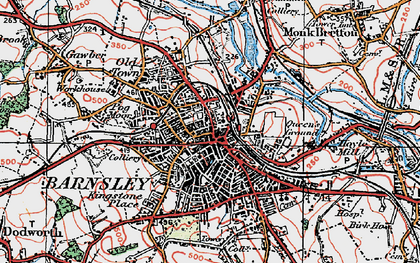 Old map of Barnsley in 1924
