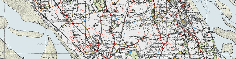 Old map of Barnston in 1924