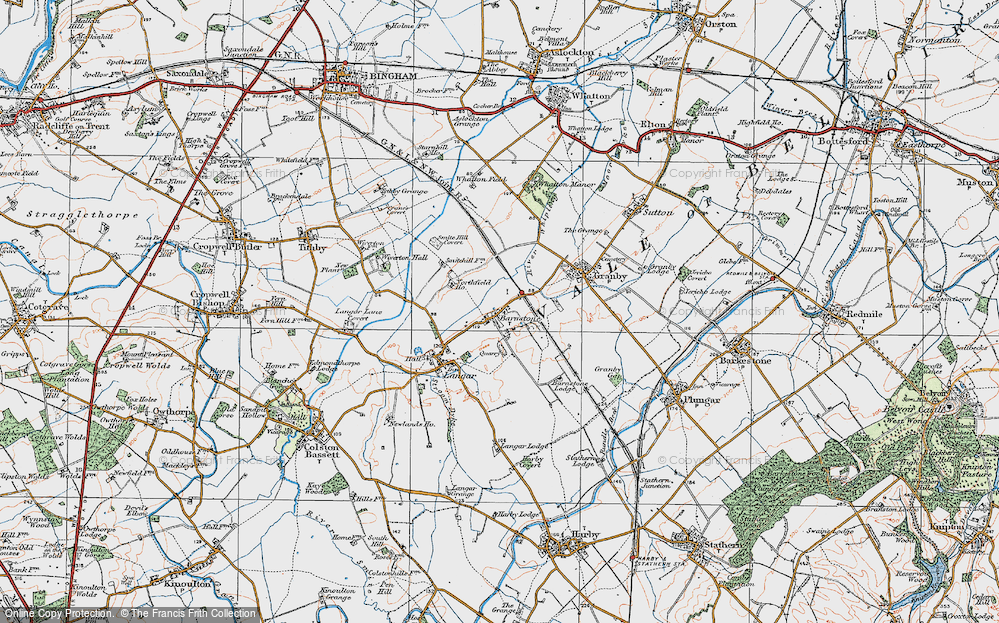 Old Map of Historic Map covering Whatton Fields in 1921