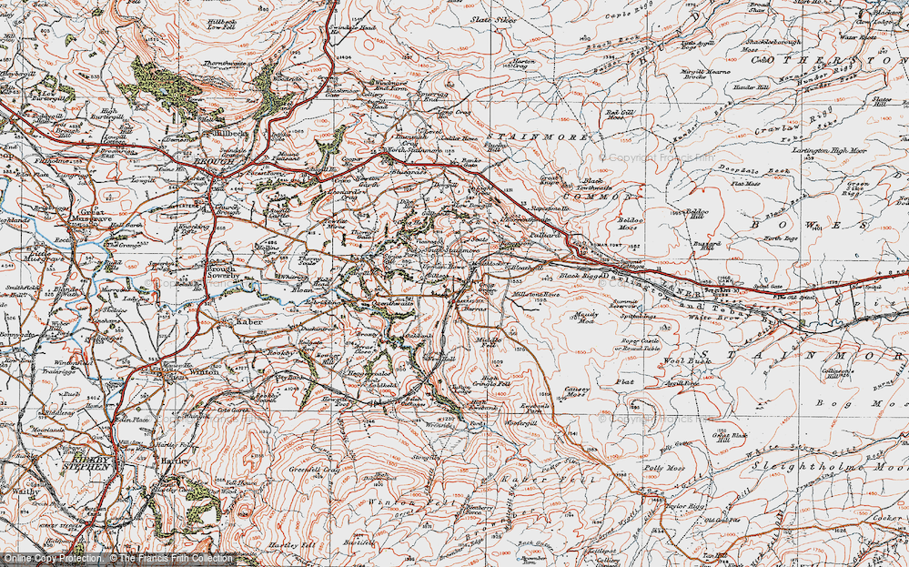 Old Map of Historic Map covering Woofergill in 1925