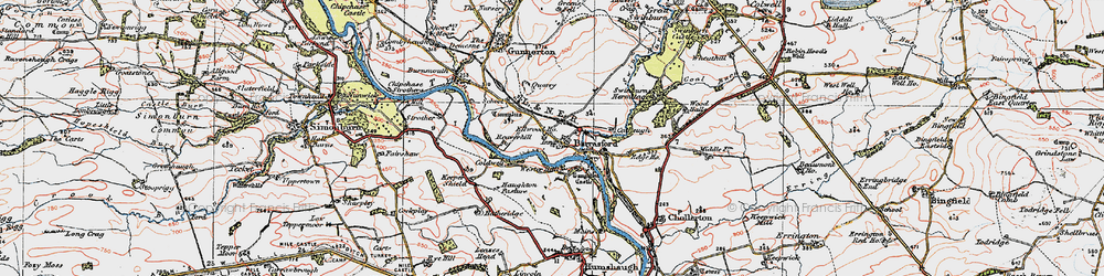 Old map of Barrasford in 1925