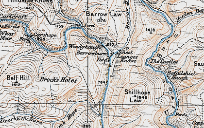 Old map of Windyhaugh in 1926