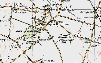 Old map of Barrow upon Humber in 1924