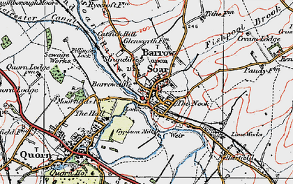 Old map of Barrow upon Soar in 1921