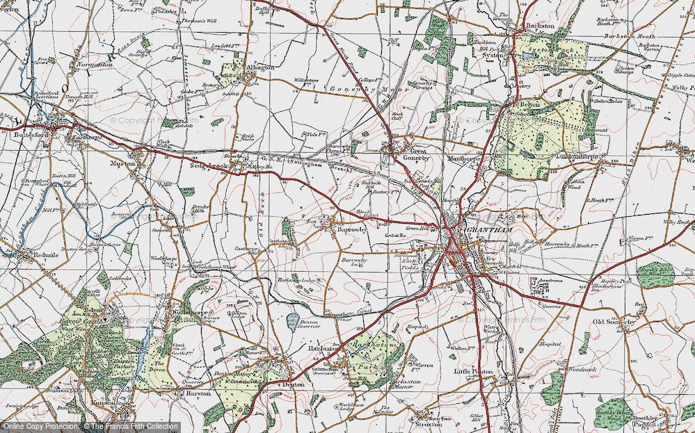 Old Map of Barrowby, 1921 in 1921