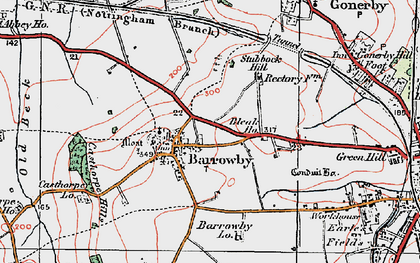 Old map of Barrowby in 1921