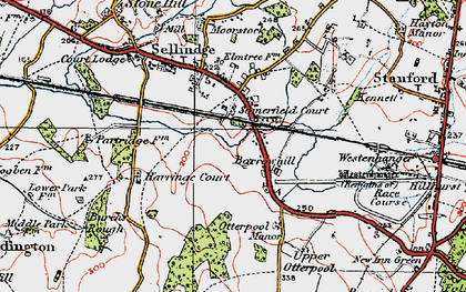 Old map of Westenhanger in 1920