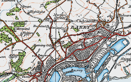 Old map of Barry in 1919