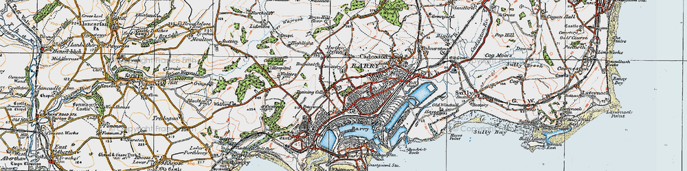 Old map of Barry Dock in 1919