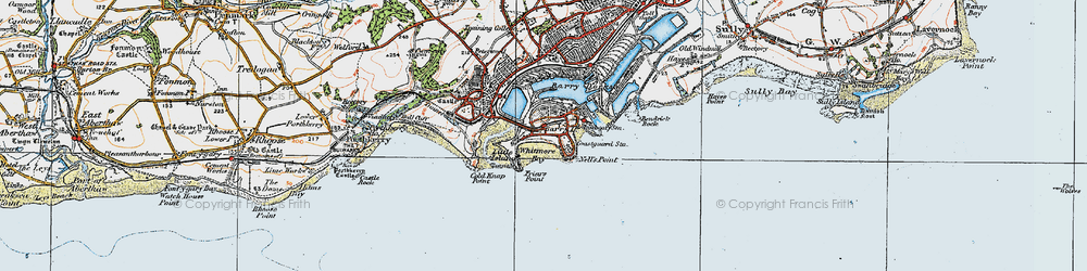 Old map of Barry Island in 1919