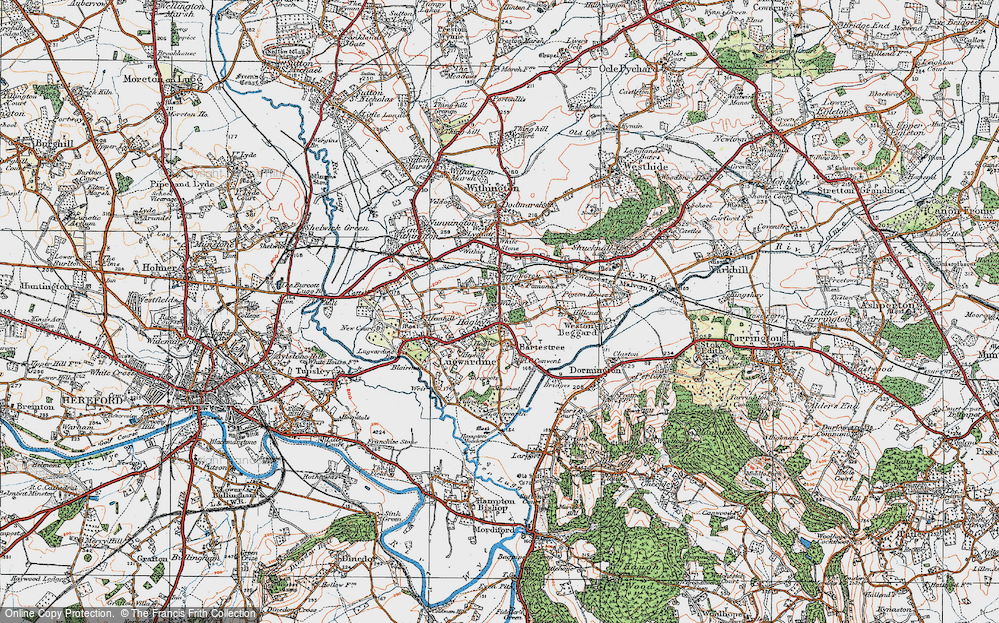 Old Map of Bartestree, 1920 in 1920