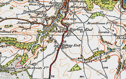 Old map of Barton End in 1919